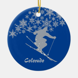 Colorado Snowflake Skier Personalized Ceramic Ornament