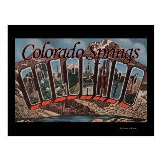 Colorado Springs, Colorado - Large Letter Scenes Postcard