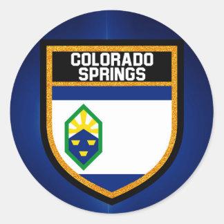 Colorado Springs Flag Classic Round Sticker