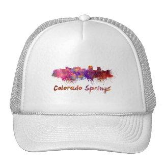 Colorado Springs skyline in watercolor Cap