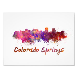Colorado Springs skyline in watercolor Photo Print