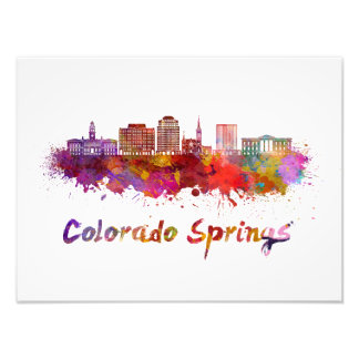 Colorado Springs V2 skyline in watercolor Photo Print
