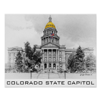 Colorado State Capitol, Gold Dome, Black, White Poster