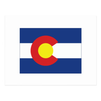 Colorado State Flag and Map Post Card