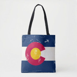Colorado State Flag Distressed Grunge Old Look Tote Bag