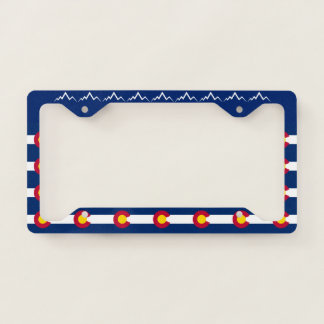 Colorado State Flag Mountains Licence Plate Frame