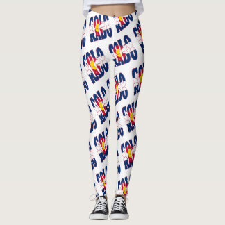 Colorado state flag text pattern leggings