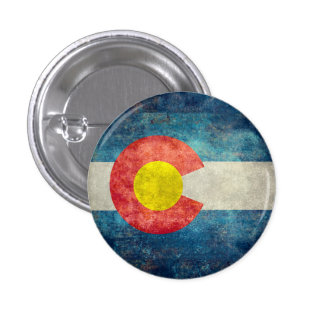 Colorado State flag with vintage retro grungy look 3 Cm Round Badge