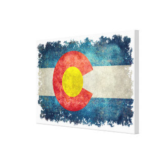 Colorado State flag with vintage retro grungy look Canvas Print