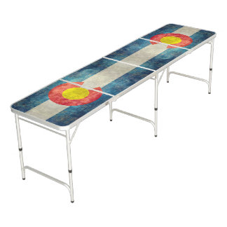 Colorado State flag with vintage retro grungy look Pong Table