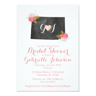 Colorado State Floral Bridal Shower Invitation