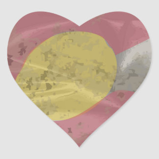 Colorado State Silk Flag Heart Sticker