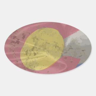 Colorado State Silk Flag Oval Sticker