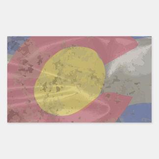 Colorado State Silk Flag Rectangular Sticker