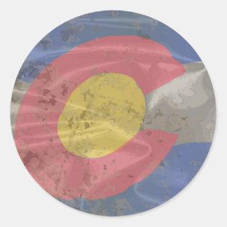 Colorado State Silk Flag Round Sticker