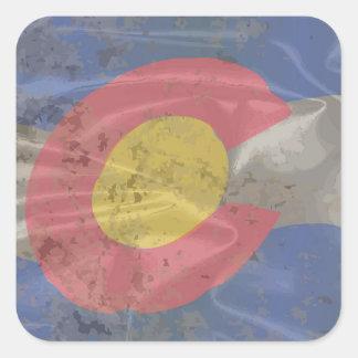 Colorado State Silk Flag Square Sticker
