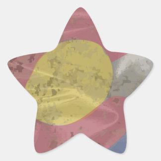 Colorado State Silk Flag Star Sticker