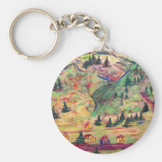colorado  town basic round button key ring