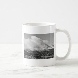 Colorado Twin Peaks Winter Weather View BW Mug