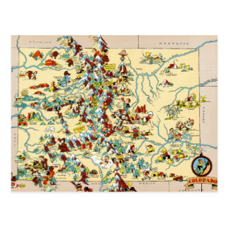 Colorado Vintage Map Postcard