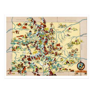 Colorado Vintage Map Postcard