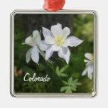 Colorado White Columbine Christmas Ornament