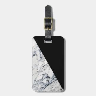 Colorblock Black Marble Pattern Modern Geometric Luggage Tag