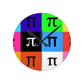 colorblock happy pi day round clock