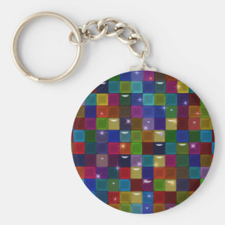 colorblock Spakle Glass Abstract Basic Round Button Key Ring