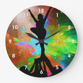 Colorburst Background with Cheerleaders Large Clock