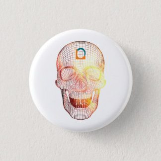 Colored 3d Skull 3 Cm Round Badge