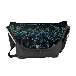 Colored Black Fractal Design Messenger Bag