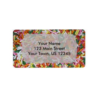 colored Candy sprinkes Texture Template Address Label