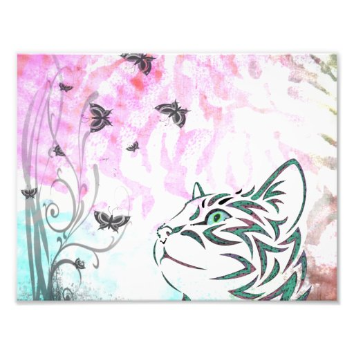 Colored Cat, Butterflies and Floral Swirls Photo Art