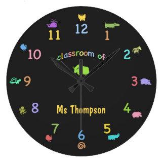 Colored Chalk Custom Zoo Animal Classroom Clock