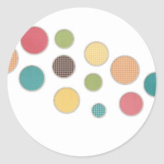 colored circles in silver frames round sticker