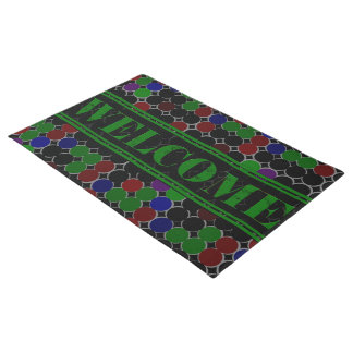 Colored Circles Welcome  Green Doormat