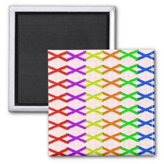 Colored Cross Stitch Square Magnet