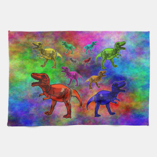 Colored Dinosaurs on Pastel Background Tea Towel