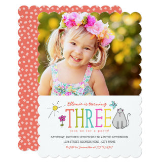 Colored Doodles 3rd Birthday Party Invite | Kitty