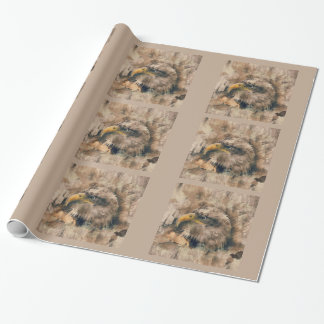 Colored Etching of American Bald Eagle on Beige Wrapping Paper