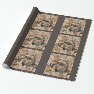 Colored Etching of American Bald Eagle Wrapping Paper