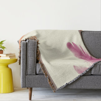 Colored Feathers Throw Blanket