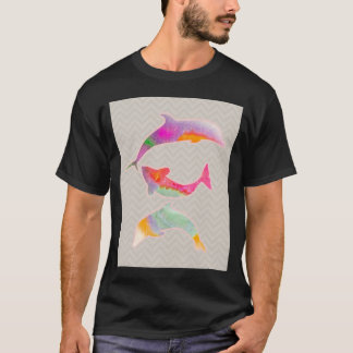 Colored Fishes on zigzag chevron - Light pink T-Shirt