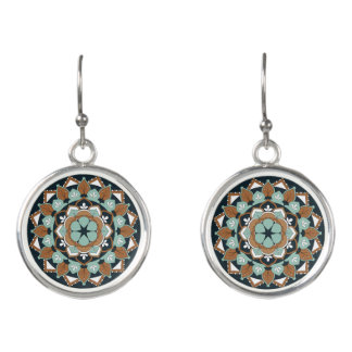Colored Floral Mandala  060517_1 Earrings