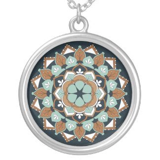 Colored Floral Mandala  060517_1 Silver Plated Necklace