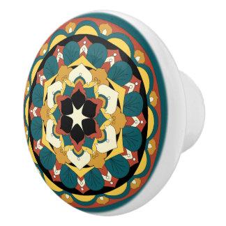 Colored Floral Mandala 060517_4 Ceramic Knob