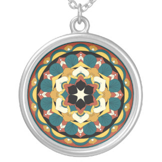 Colored Floral Mandala 060517_4 Silver Plated Necklace