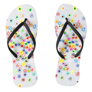 Colored Flowers Flip Flops