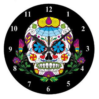 Colored Flowers Mexican Tattoo Sugar Skull Clocks